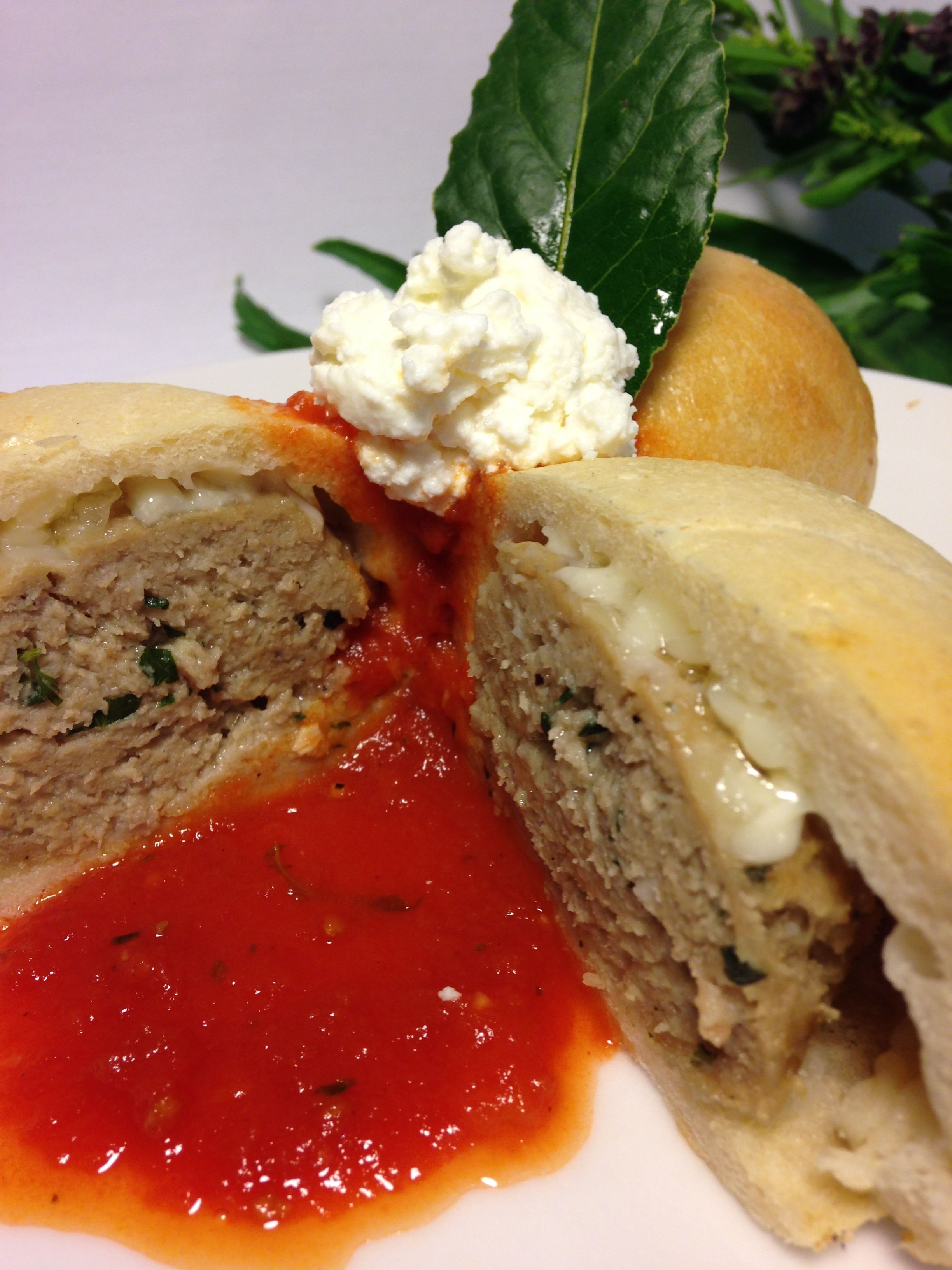 Beef Veal And Pork Meatballs In House Focaccia Bread Served With Marinara Sauce Narragansett Creamery Ricotta Cheese HotItalianBuns