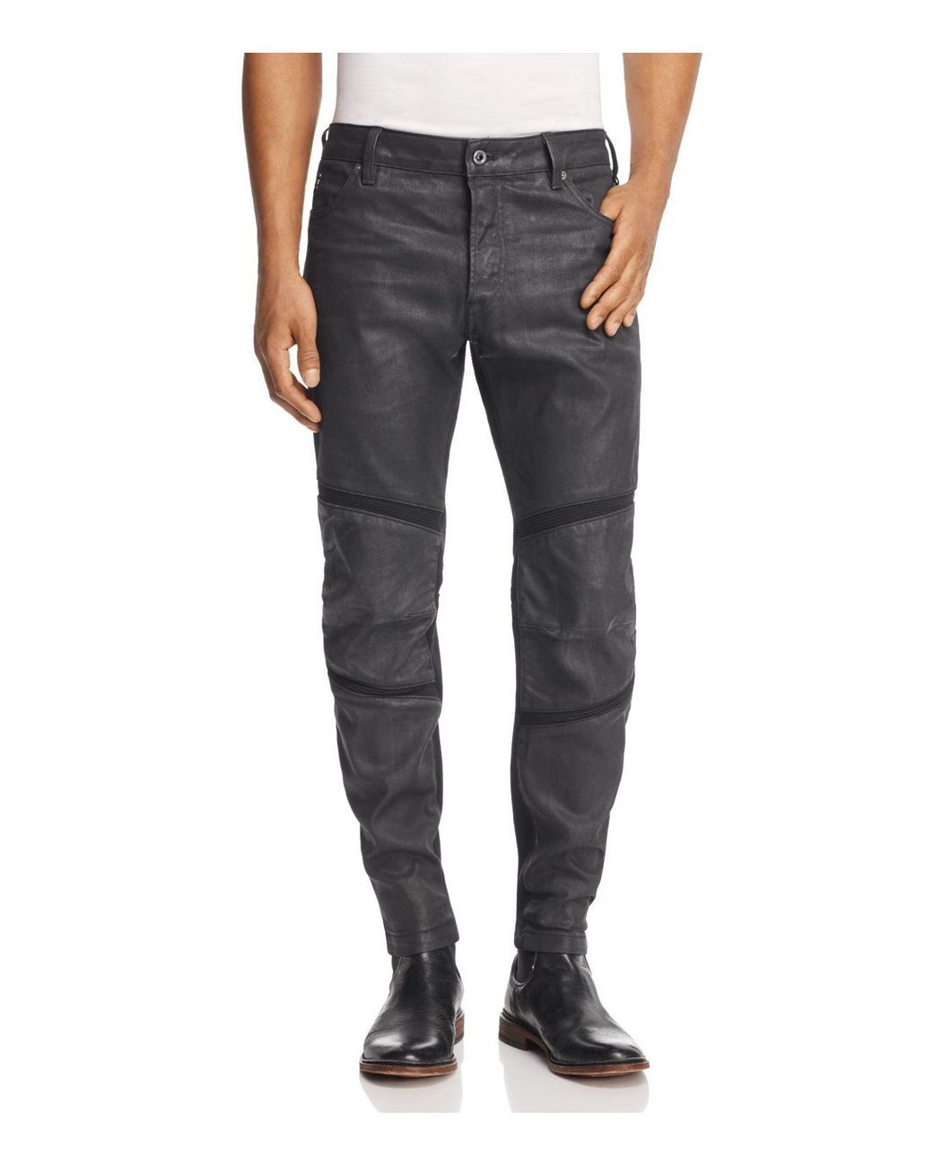 b33d90ae728 G-Star RAW | Gray Motac 3d Slim Fit Coated Jeans In Dark Grey for Men | Lyst