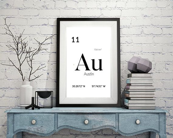 Austin Texas Periodic Table Geographical By Optiqaldesigns On Etsy