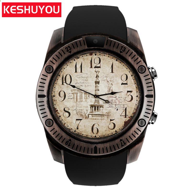 61a2ee420ef KESHUYOU KY03 passometer relógios inteligentes do vintage android homens  câmera smartwatch android dispositivos wearable para telefone samsung huawei