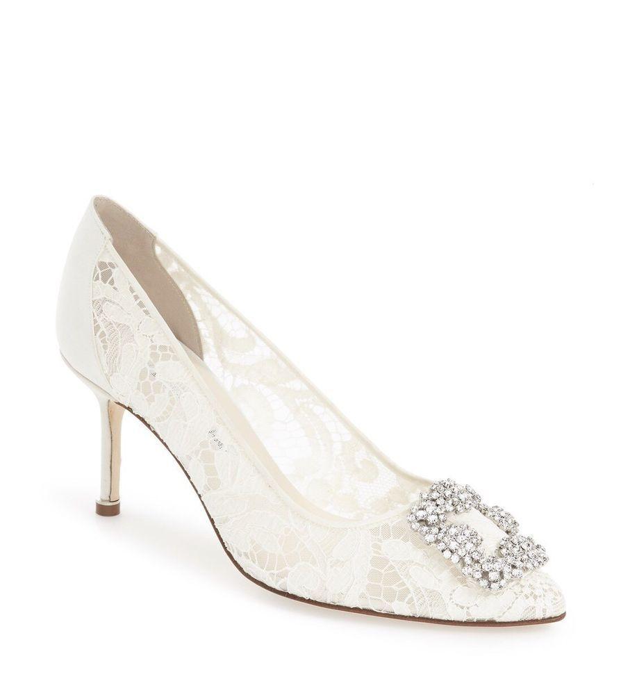 ac477dac18218 NIB Auth Manolo Blahnik Hangisila 70 White Lace Jeweled Pumps 38 $1025 # ManoloBlahnik #PumpsClassics