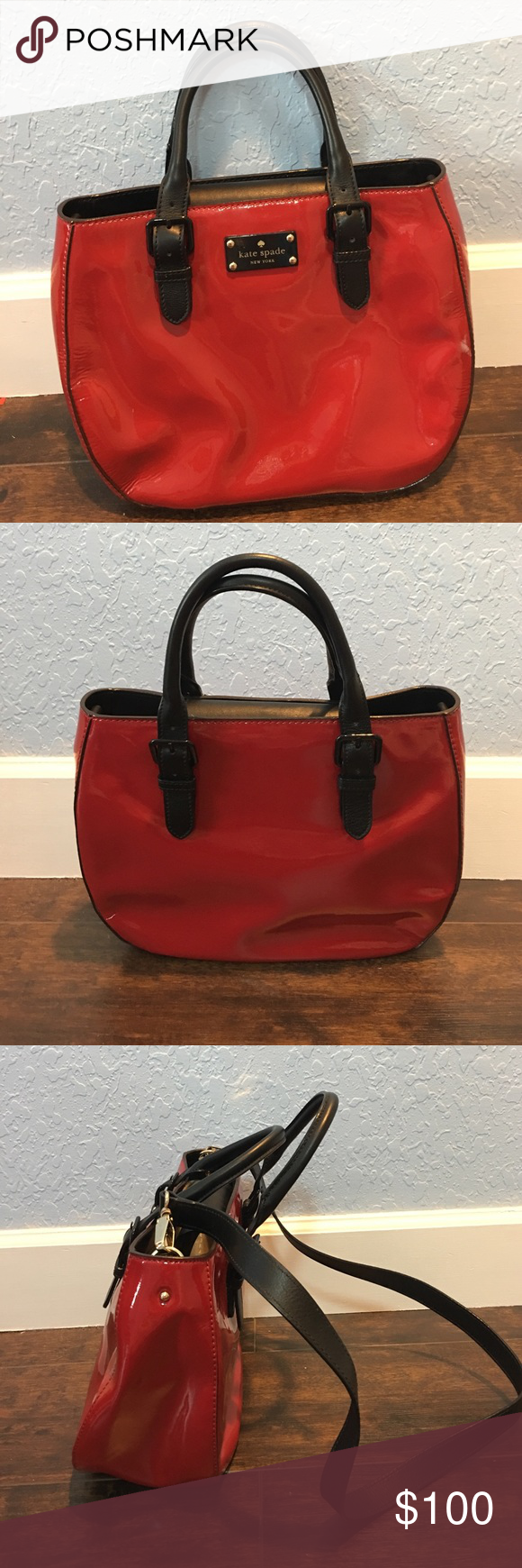 Kate Spade Kate Spade red and black purse. Only wore it once. Like new kate spade Bags Crossbody Bags