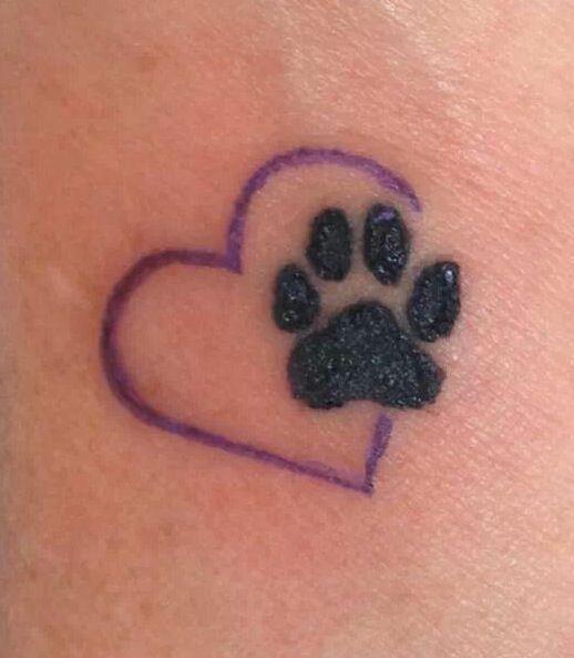 Heart Shaped Paw Prints Tattoos: Fabulous Dog Paw Print Tattoos On Heart Shape