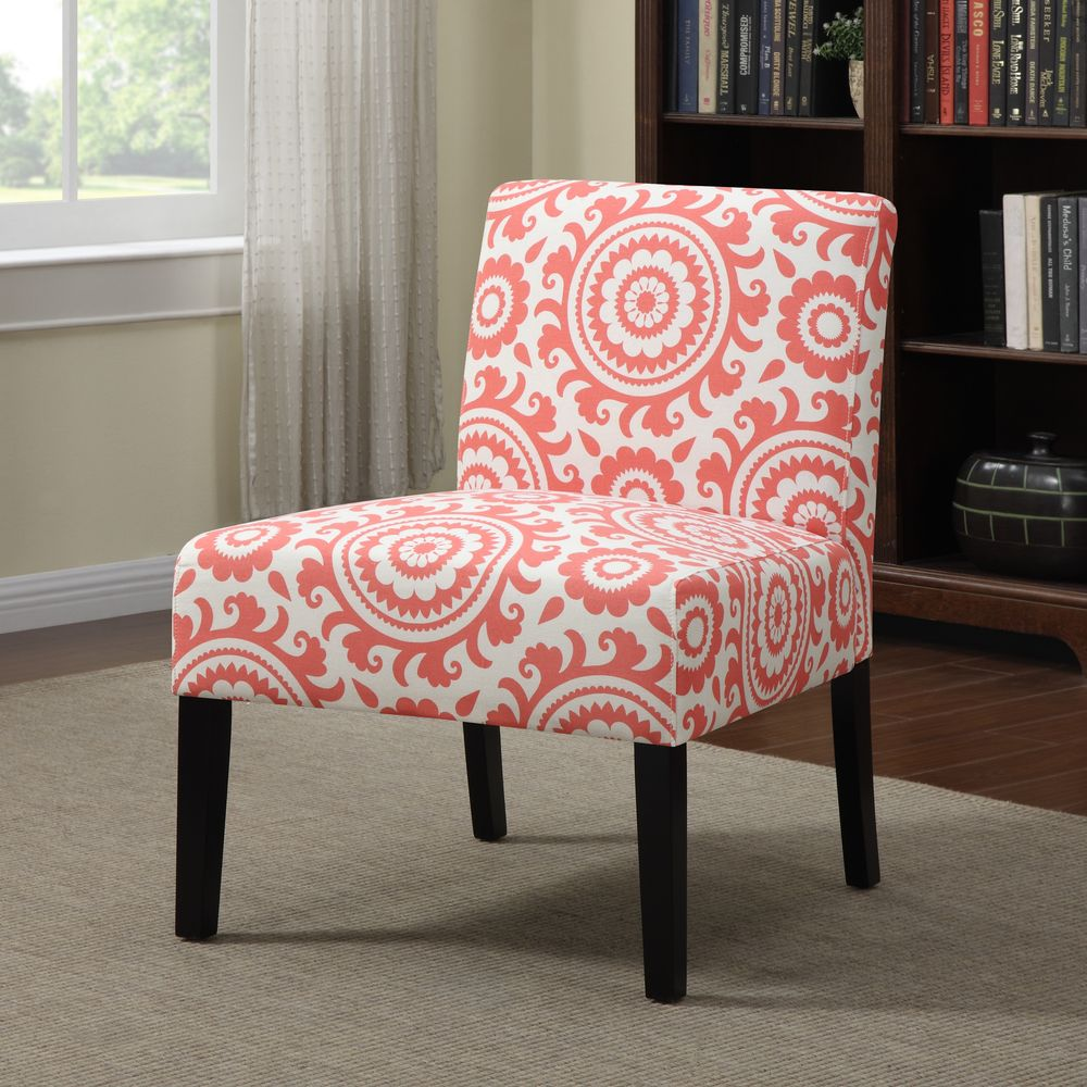 Handy Living Niles Pink Coral Medallion Armless Accent Chair by