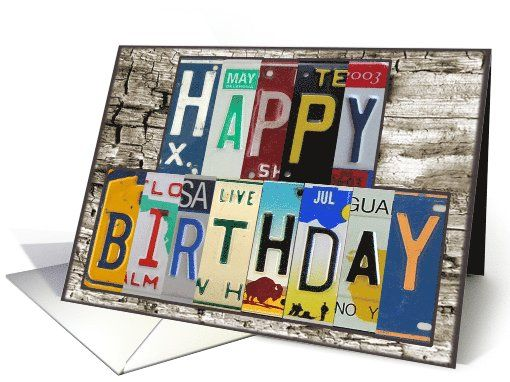 License Plates Happy Birthday Card Car Lover
