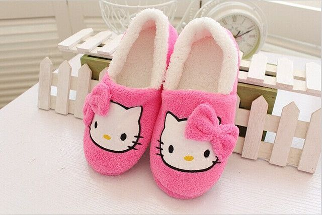 Winter Women Slippers Cartoon Hello Kitty Indoor Home Shoes Warm Adult Pink nice