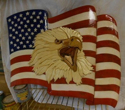 Intarsia Flag/Eagle | Flags, Woodworking and Intarsia wood