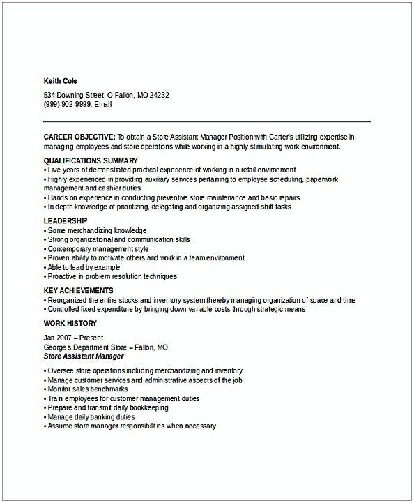 Assistant Store Manager Resume 2 , Resume for Manager Position