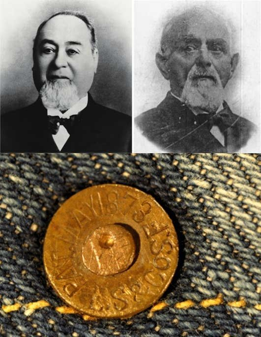 20 May 1873 - Levi Strauss and Jacob Davis patent first blue jeans with copper rivets. Levis Jeans, Denim, Pop Culture Art, Levi Strauss, Blue Jeans, Copper, History, American, Historia