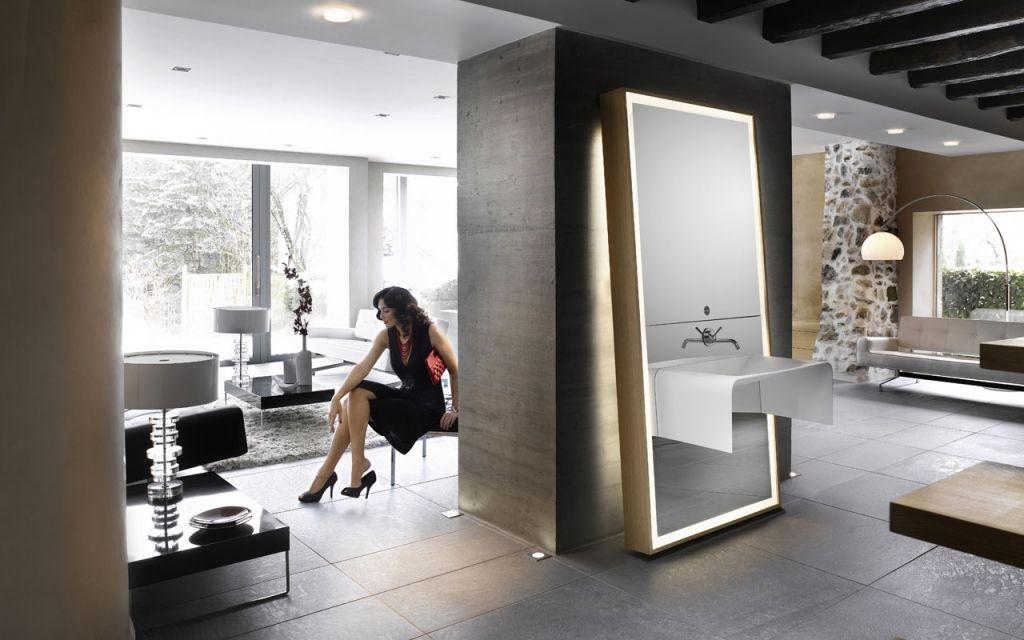 Meuble de salle de bains design avec miroir Image d\u0027O Delpha