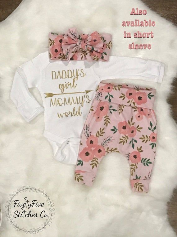Photo of Baby Girl Coming Home Outfit*Daddy's Girl**Mommy's World**Baby Girl Going Home Outfit**Hospital Outfit**Baby Girl Clothes*Newborn Going Home