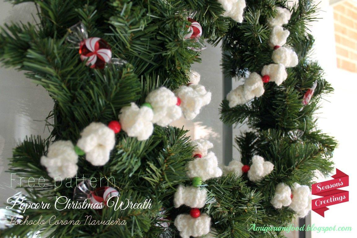Amigurumi Food: Free pattern Popcorn Christmas Wreath {Pochoclo ...