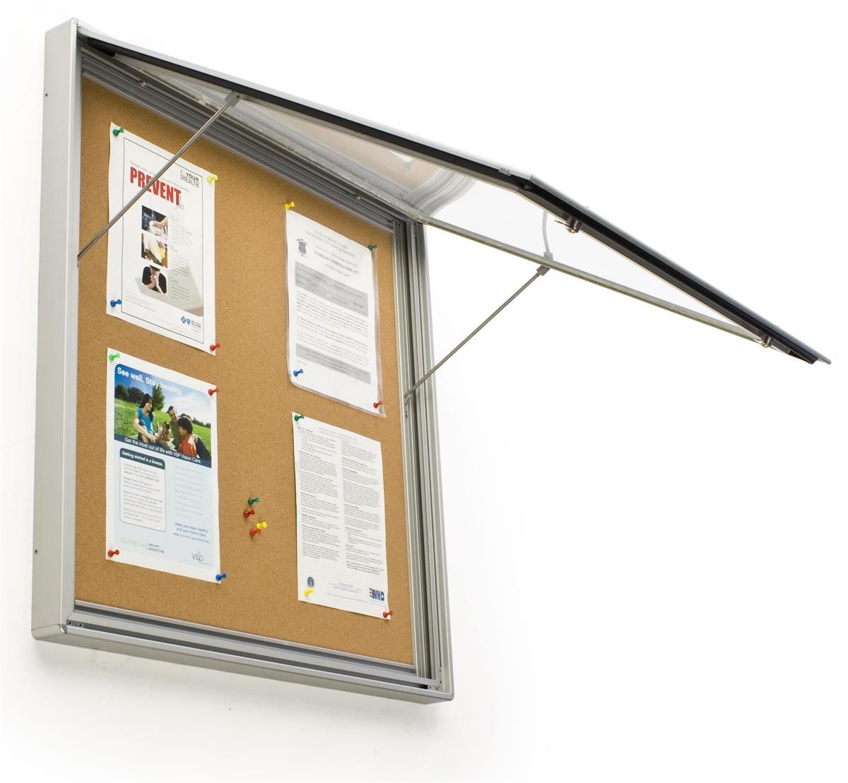 32 X 32 Enclosed Bulletin Board For Outdoor Use With Locking Door Silver In 2020 Bulletin Boards Door Prop Wall Board