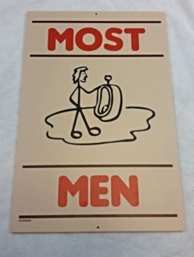 "Restaurant Bathroom Signs hooters restaurant mens restroom bathroom sign ""most men"" 18x12"
