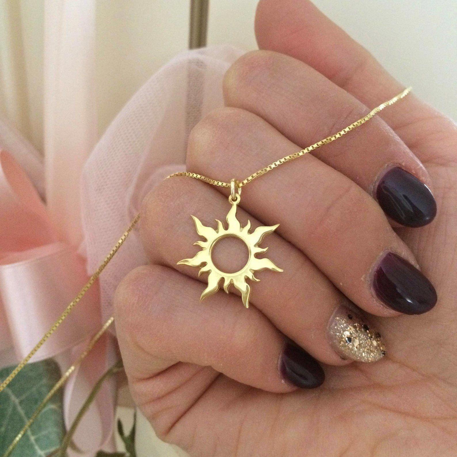 14k Solid Gold Sun Necklace Rapunzel Sun Pendant Etsy Goldnamenecklace Eleganteveningdresses Diamond Necklace Designs Necklace Designs Cute Jewelry