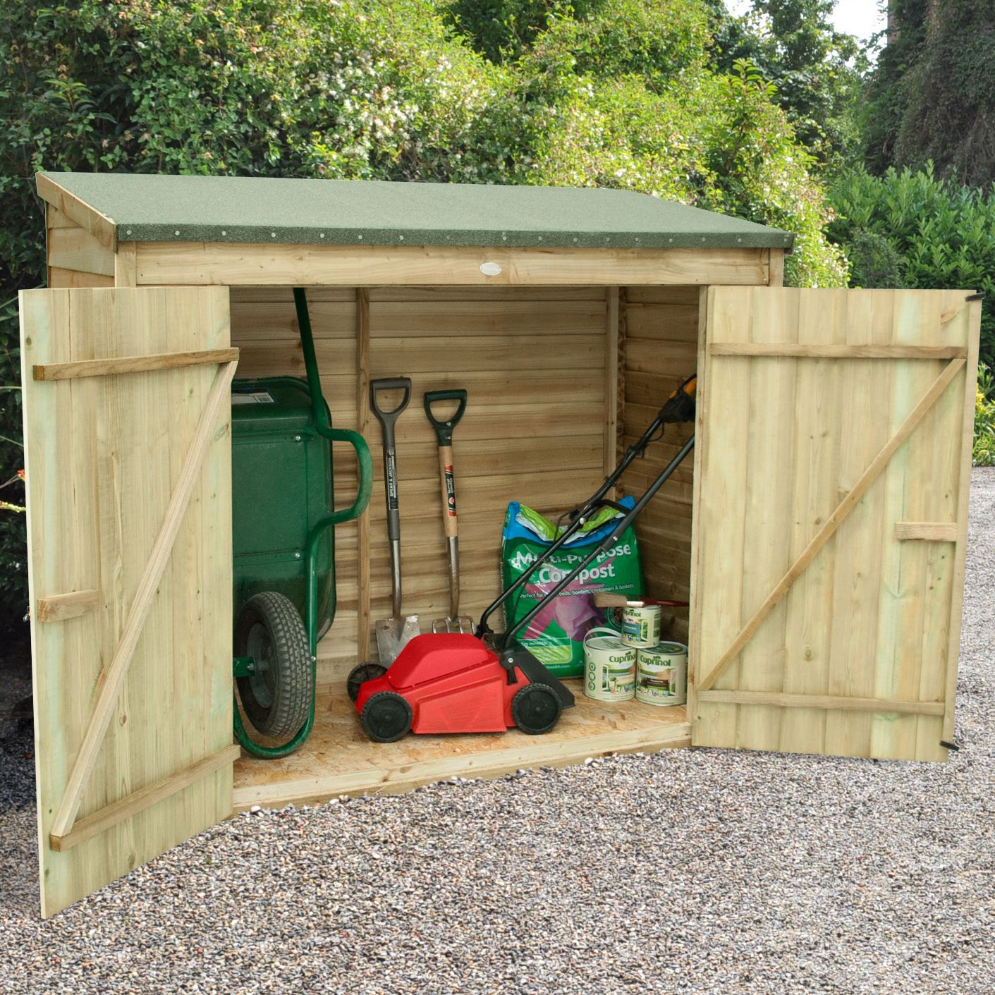 outdoor small storage overlap pressure treated pent wood maxi wall store 6 x 28 approx