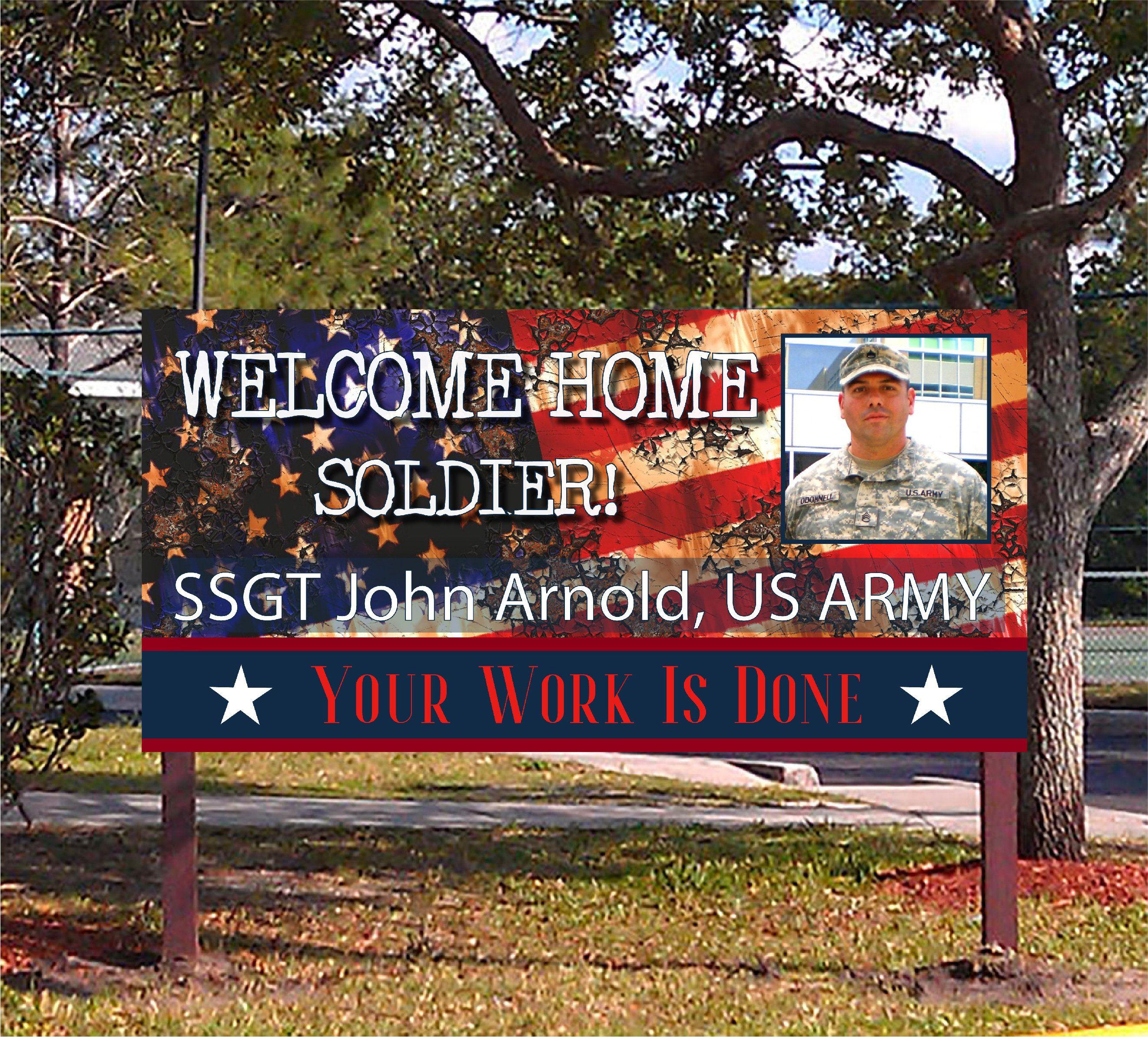 Custom military home printed hd banner sign