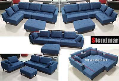 8 Stendmar S160b Multifunction Sectional Sofa Blue Jean Fabric