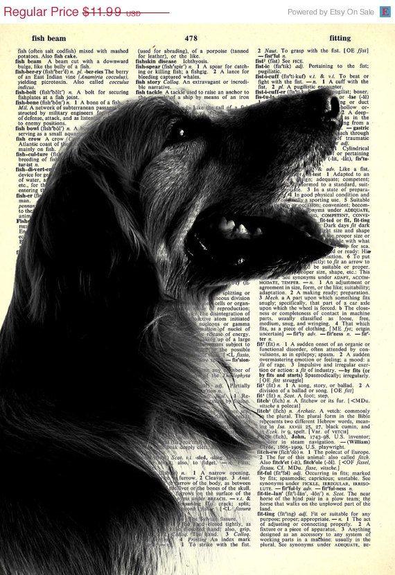 Golden Retriever Dog Breed Series 8x11 Print On Vintage