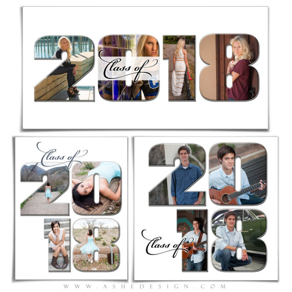 Photoshop Templates Word Collage Set - CLASS OF 2018- (3) Digital