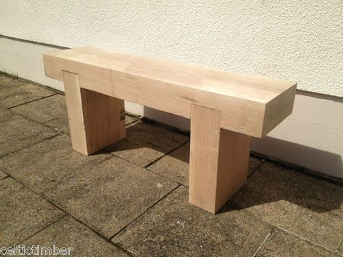 Details about Hand Made Solid French Oak Beam Garden Bench Seat Wooden Chair  Table