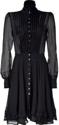 719390f0ea8 ShopStyle  McQ Alexander McQueen Black Sheer Raw Edge Silk Dress ...