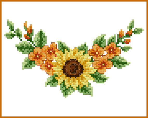 sunflower corner cross stitch pattern by quaintquill on