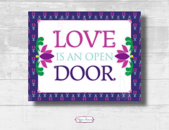 Frozen Inspired Love Is An Open Door Party Sign Instant Download Frozen Party Signs Pdf Print At Home Files Party Signs Diy Door Signs Party Signs