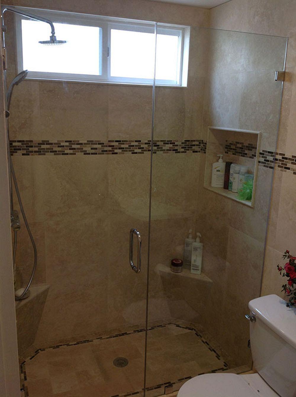 """pocket"" size bathroom ideas  glass shower doors shower"