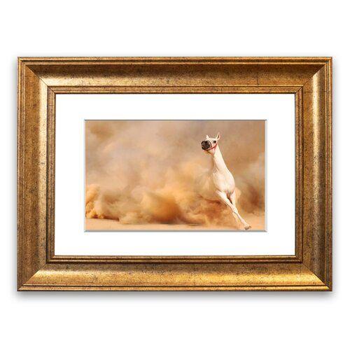 Gerahmtes Poster Weiße Pferdeschönheit East Urban Home Größe: 93 cm H x 126 cm B, Rahmenart: Grau