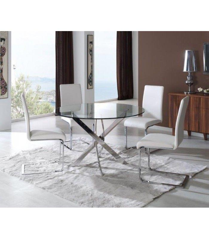 Moderniza tu comedor con esta #mesa de #cristal transparente y pies