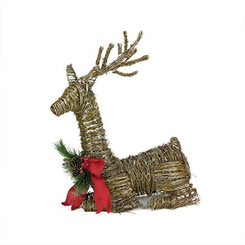 NorthLight 30 in Lighted Rattan Reindeer With Red Bow And Pine Cones