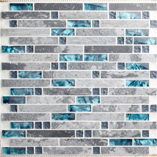 glass and stone blend mosaic wall tile backsplash blue wave marble tile striped art mosaics bar