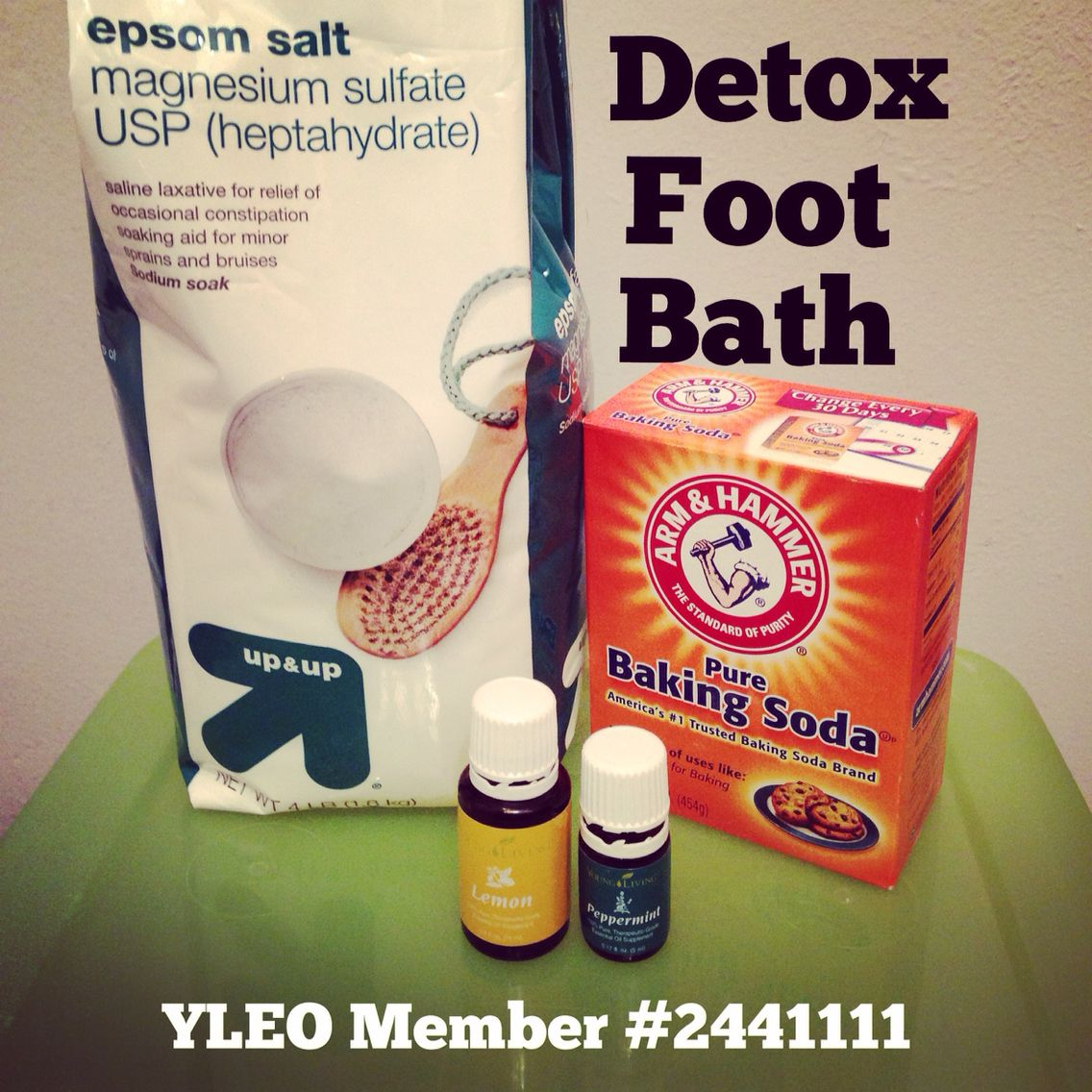 Detox Foot Bath with Young Living Oils. I use lemon & peppermint (2-4 drops each), 1 cup Epsom salts and 1/2 cup baking soda. Get the water as hot as you can handle. Then just relax and enjoy the aroma until the water cools. #detoxfootbath pulls toxins from the pores in your feet. Sign up with YL Essential Oils and use my member #2441111. Thanks!