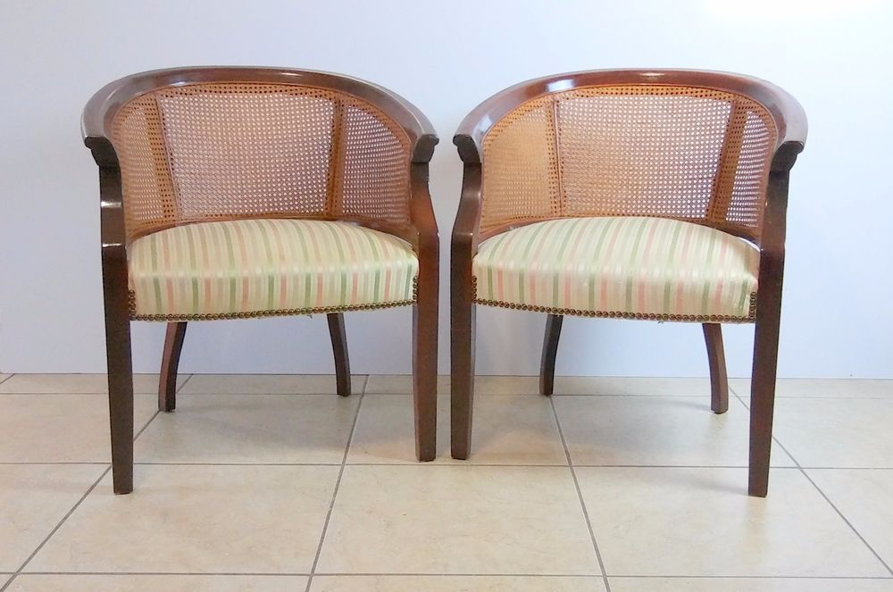 Awe Inspiring Mid Century Modern St Timothy Barrel Chairs With Cane Back Bralicious Painted Fabric Chair Ideas Braliciousco