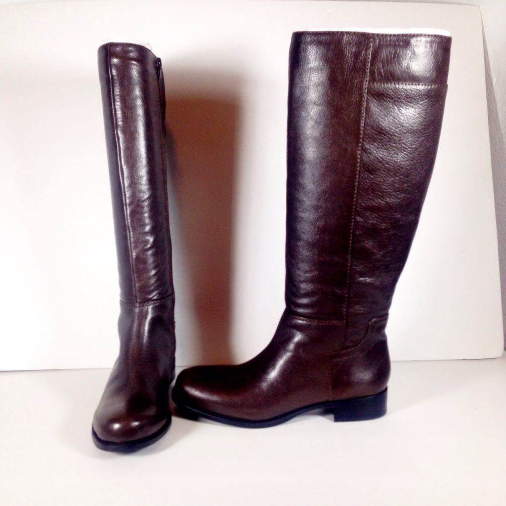 3b9468119b2 Details about Nine West Women's Knee High Brown Leather Boots Size 6 ...