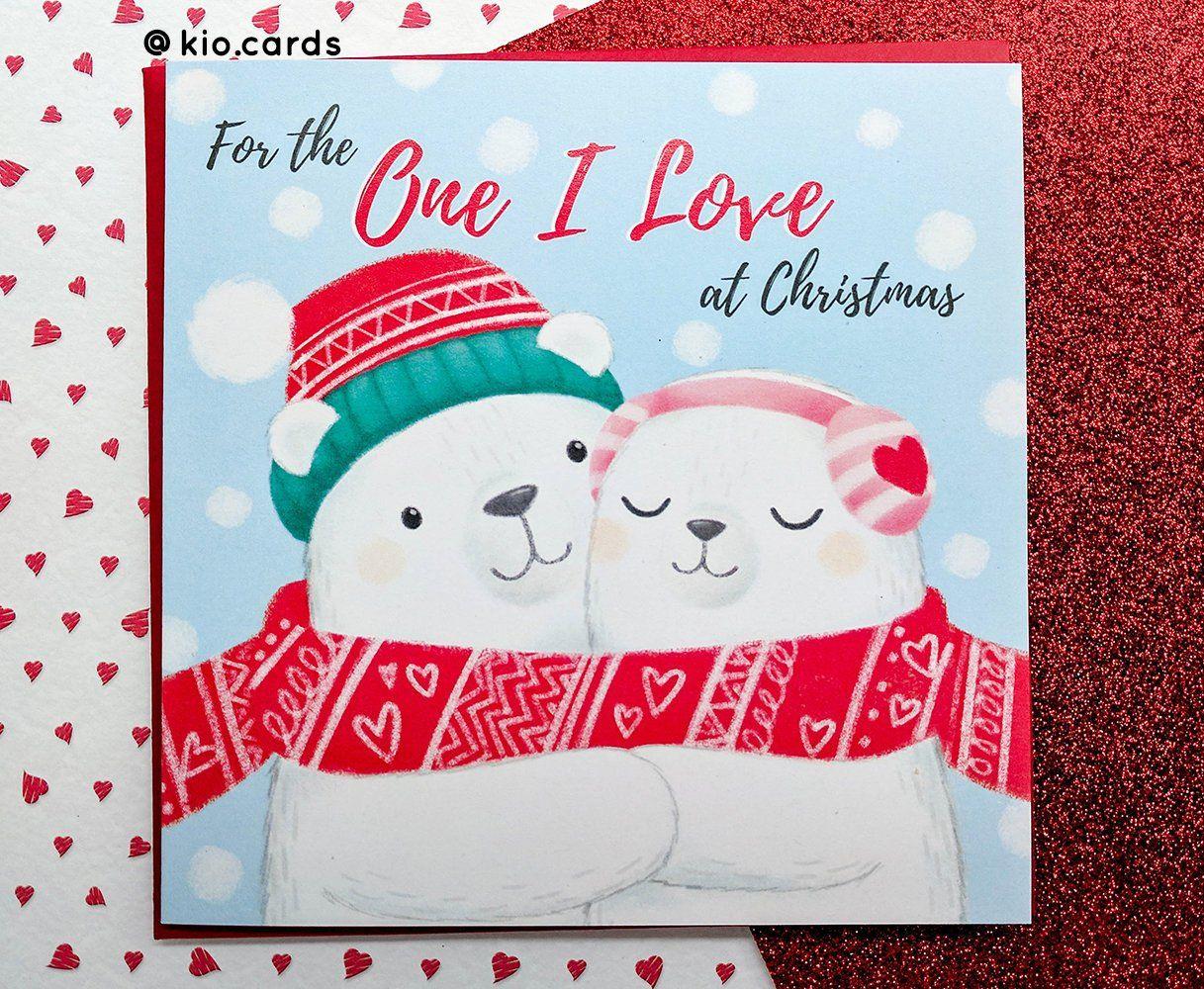 one i love romantic christmas card christmas love card