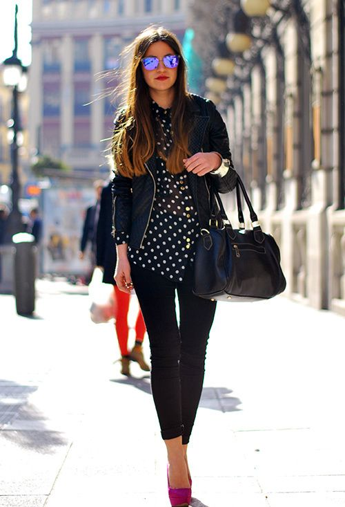 black and white polka dots with a splash of color!