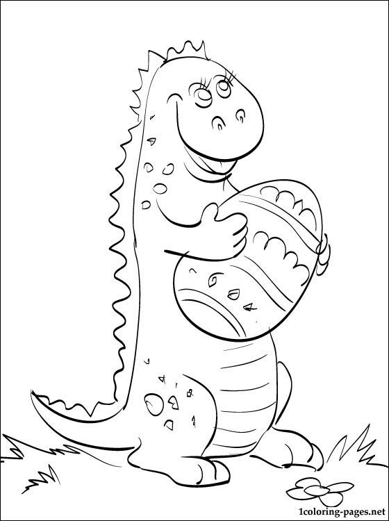 Coloring Page Small Dinosaur With Easter Egg