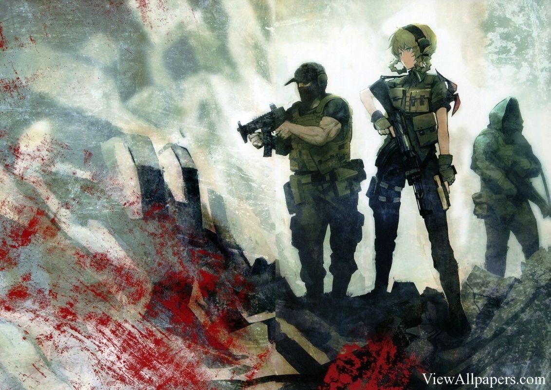 Anime war guns weapons girls wallpaper viewallpapers - Anime war wallpaper ...