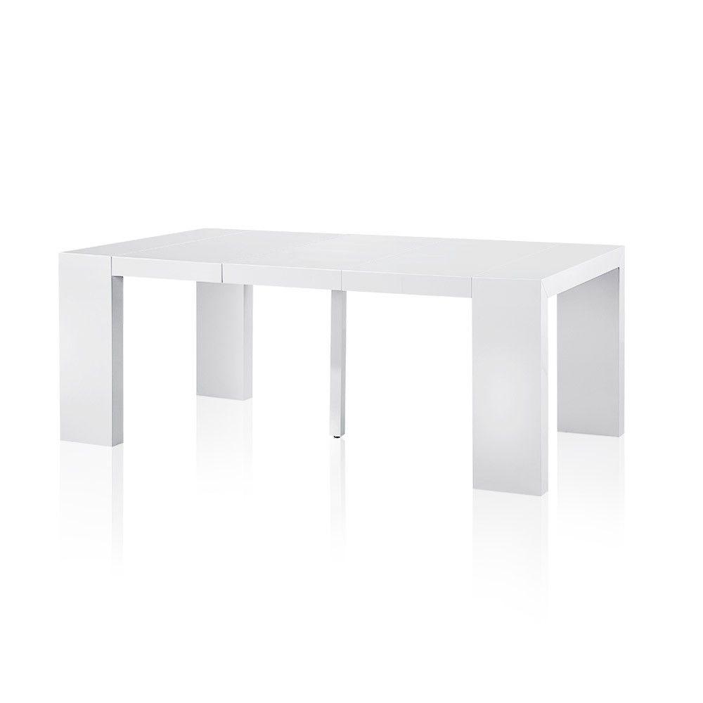 Table Console Extensible Rallonges Blanc Laqué Format Table - Console extensible blanc laquee pour idees de deco de cuisine
