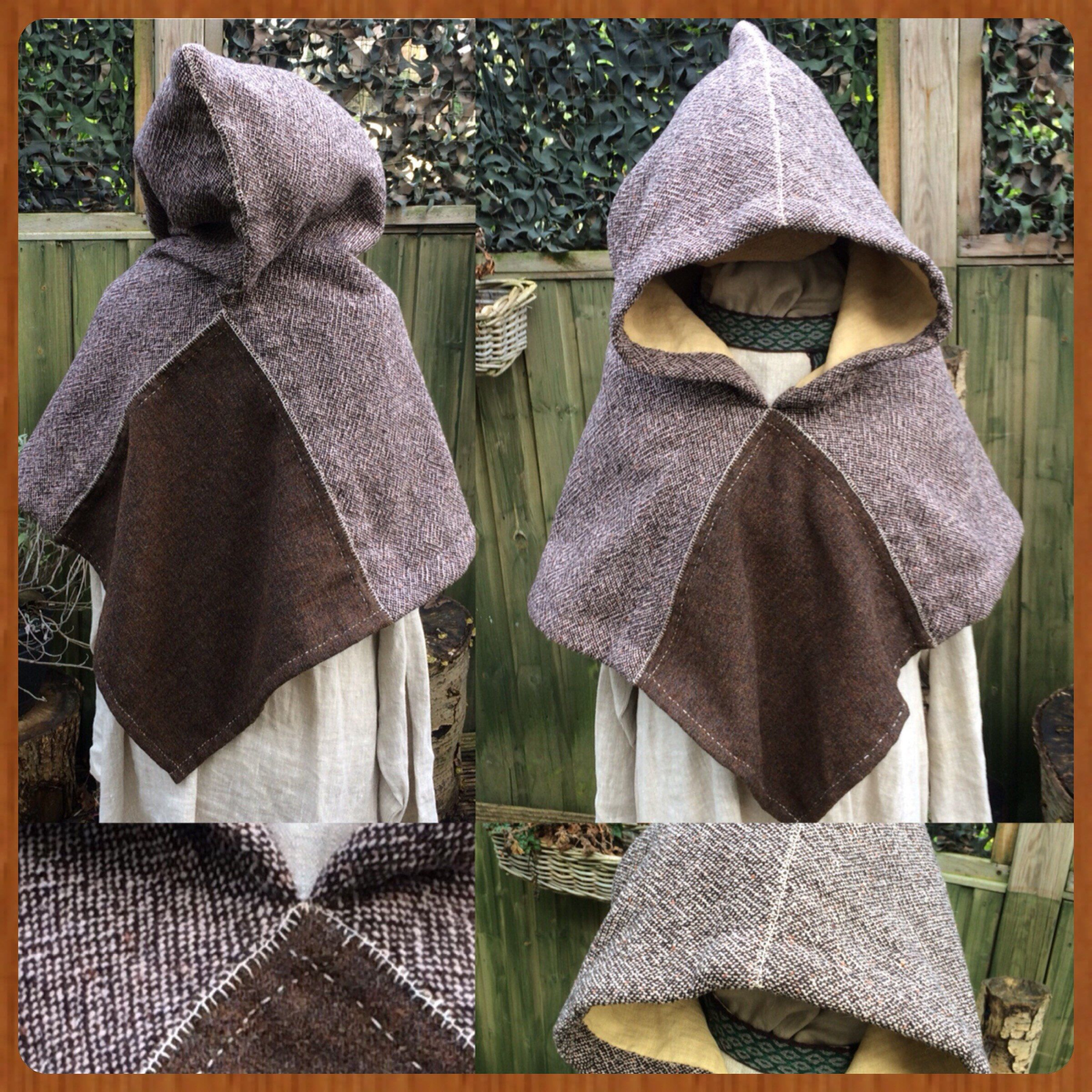 Viking woolen hood with lining Early Medieval viking costume