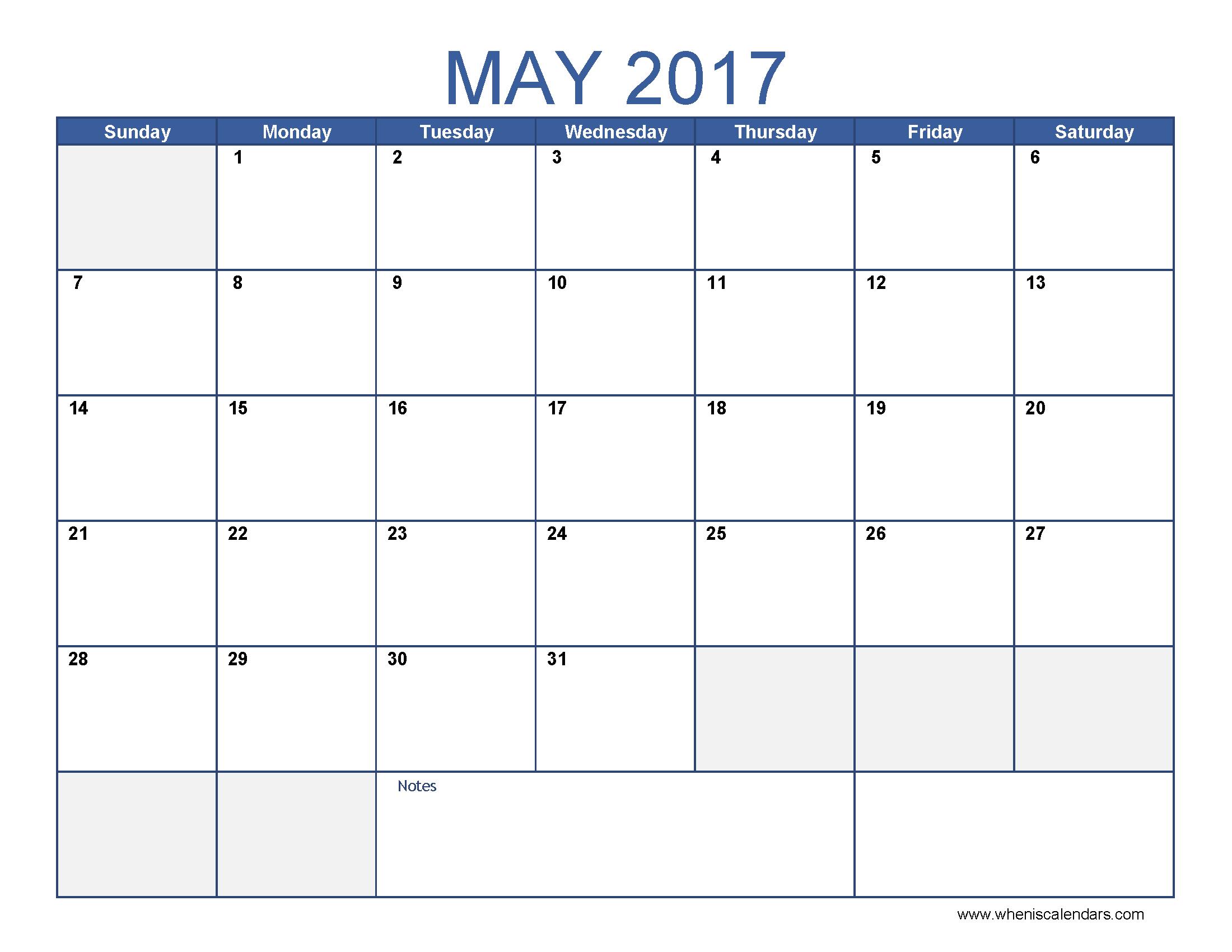 May 2017 Calendar Blue – Printable Editable Blank Calendar 2017 ...