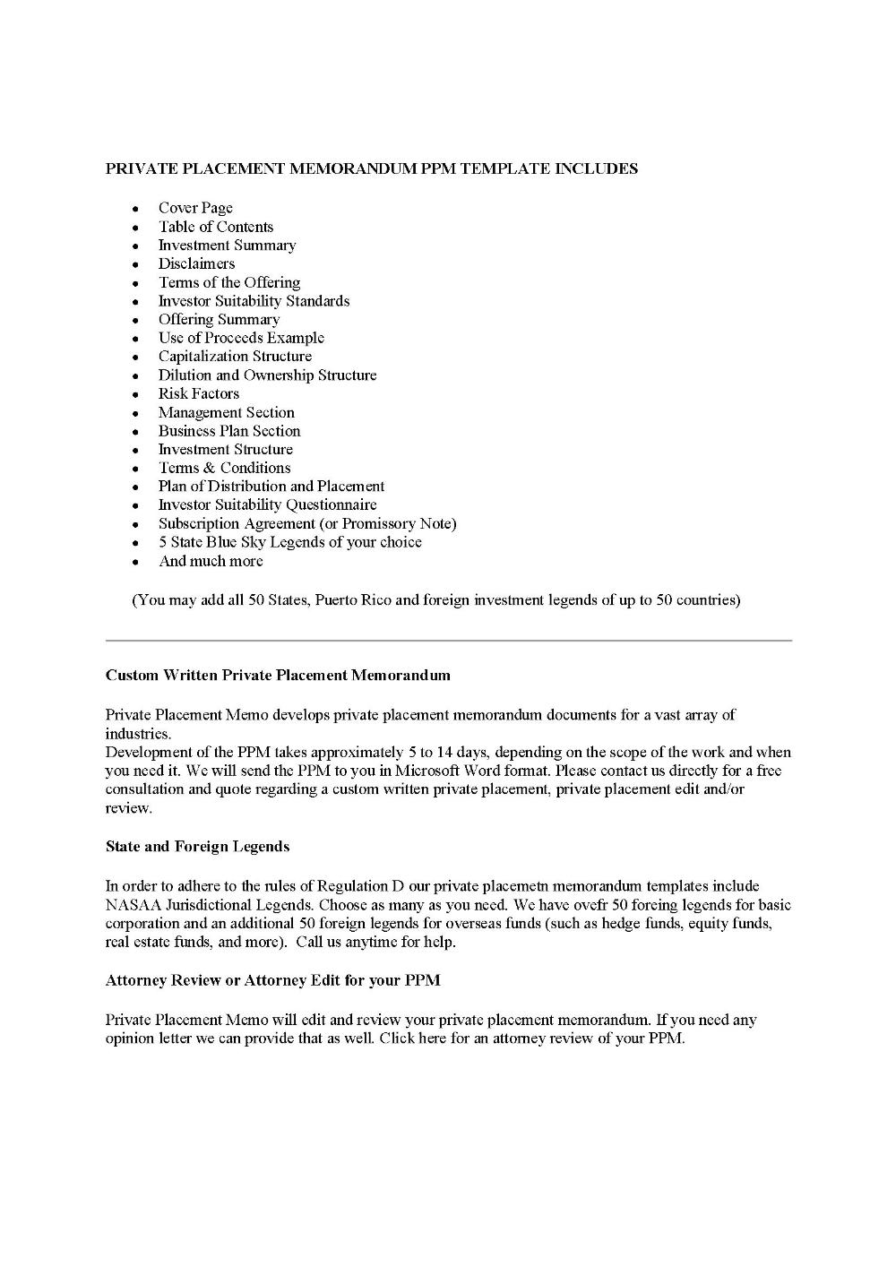 Finders Fee Agreementprivate Placement Memorandum in Real ...