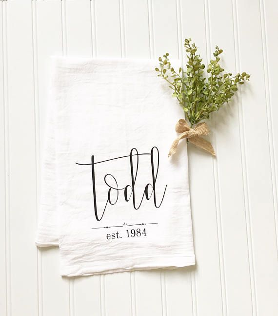Embroidered Towels For Wedding Gift: Personalized Tea Towel Custom Name Tea Towel Wedding Gift