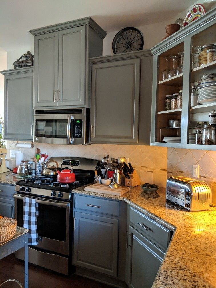 I M In Love With My Painted Cabinets I Used Valspar Cabinet Enamel Paint Colo Painted Kitchen Cabinets Colors New Kitchen Cabinets Painting Kitchen Cabinets
