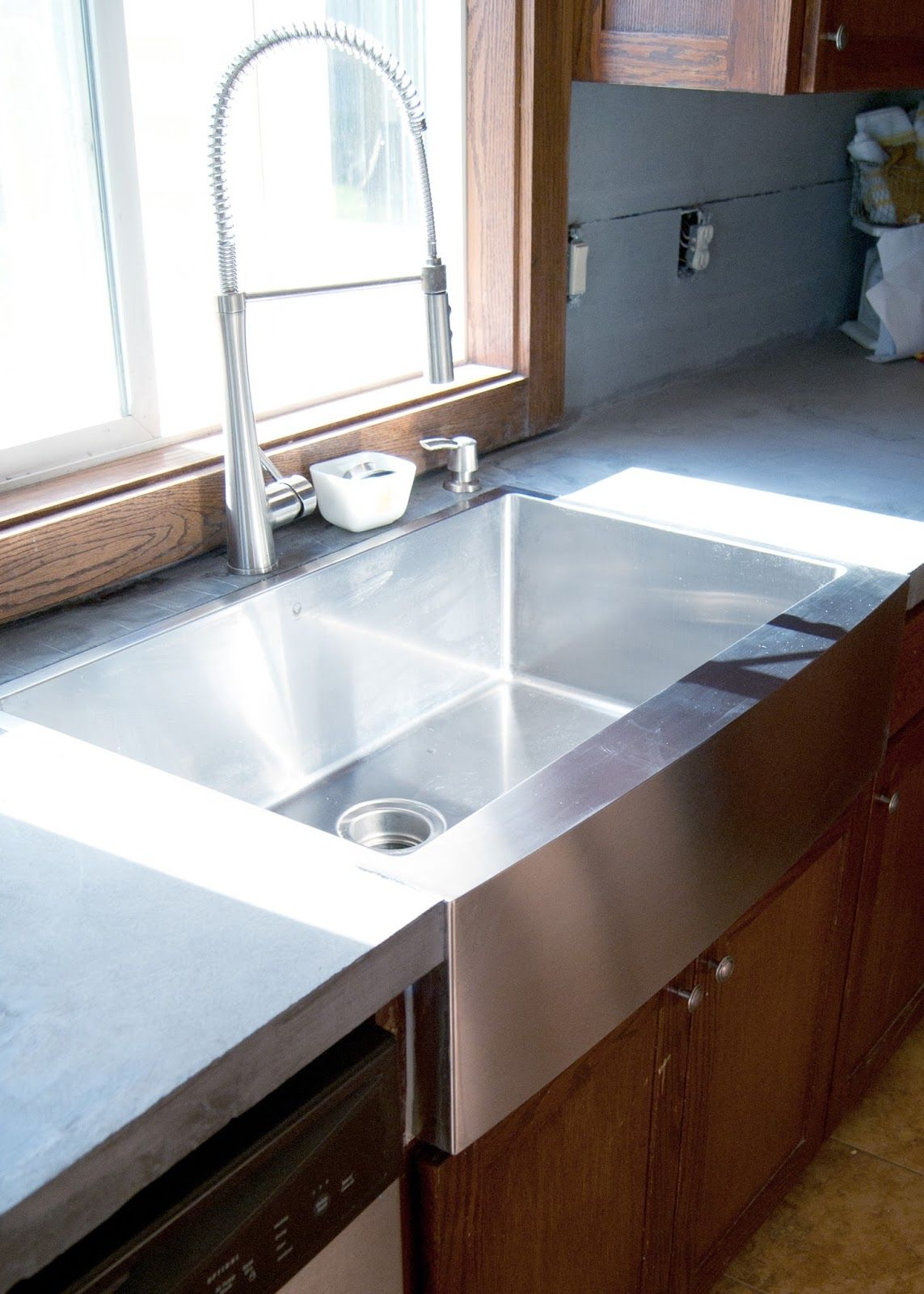 Installing Stainless Steel Countertops New Stainless Steel Apron Front Sink How We Installed It In