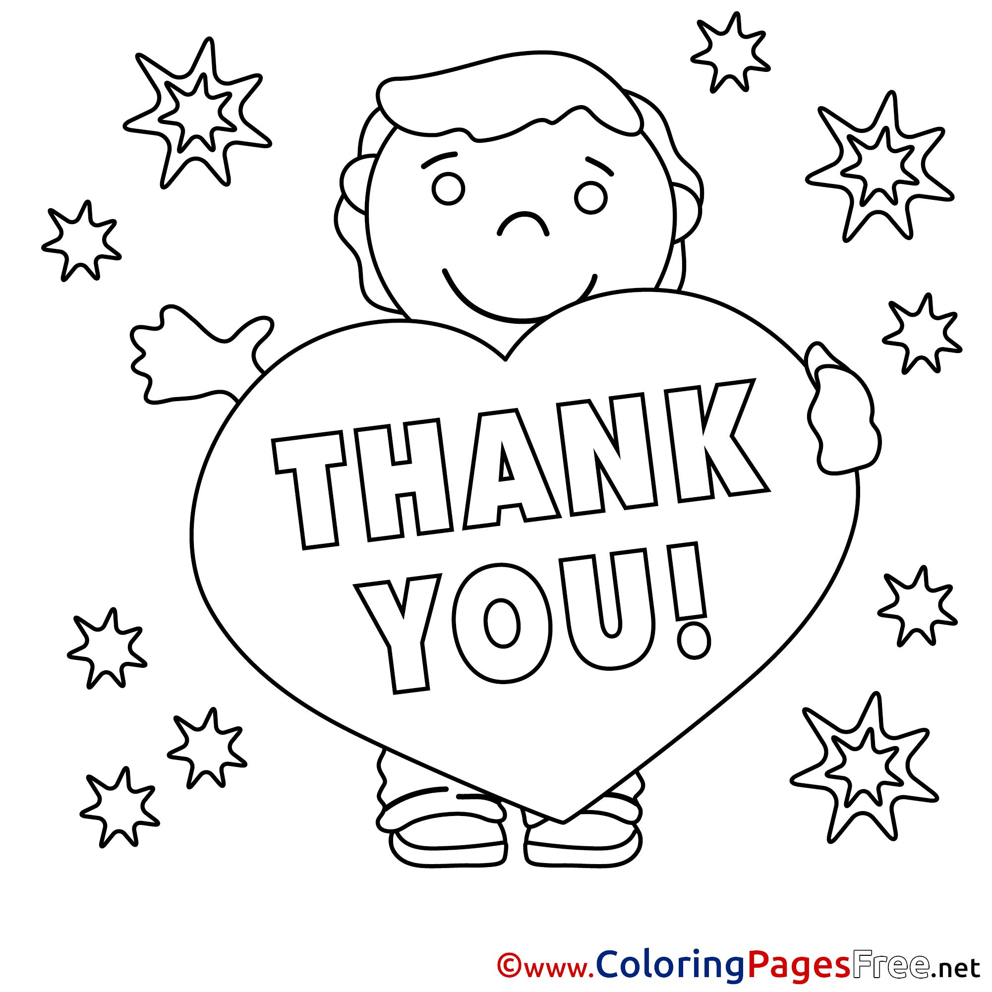 Thank You Coloring Pages Free Boy Stars At