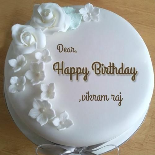 Diamond Birthday Wishes Round Cake With Your Name