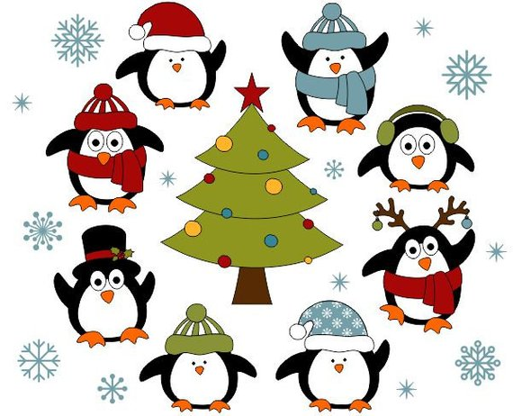 christmas penguins digital clip art christmas tree clipart xmas cute penguins new year instant do